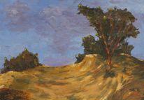 Wolken, Baum, Acrylmalerei, Impressionismus