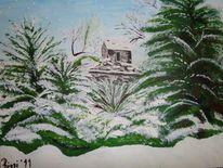 Schnee, Riegel, Tannenbäume, Garten