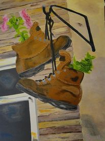 Stiefel, Blumen, Heureka, Wanderung