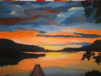 Sonnenuntergang, Wasserspiegelung, Bootssteg, Wasser
