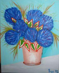 Fantasie, Blau, Tontopf, Blumen