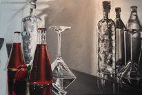 Realsitische malerei, Glas, Flasche, Trompe