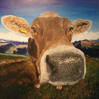 Fotorealismus, Acrylmalerei, Kuh, Trompe