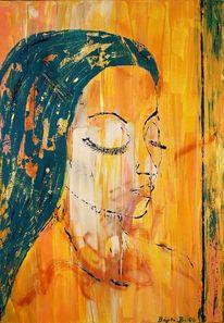 Kontemplation, Acrylmalerei, Junge frau, Gelb