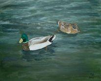 Acrylmalerei, Tiere, Ente, Wasser