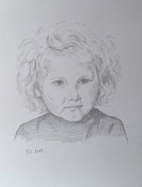 Mädchen, Skizze, Portrait, Bleistiftzeichnung