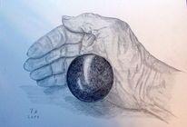 Hand, Bleistiftzeichnung, Studie, Skizze