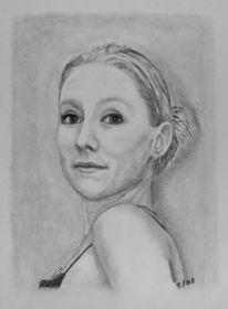Portrait, Mädchen, Kohlezeichnung, Frau