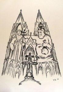 Kölner dom, Karikatur, Kirche, Kohlezeichnung