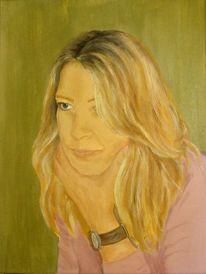 Portrait, Blond, Frau, Acrylmalerei