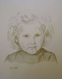 Bleistiftzeichnung, Mädchen, Kind, Portrait