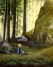 Märchen, Landschaft, Wald, Acrylmalerei