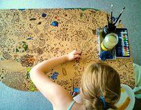 Bunt, Muster, Tisch, Acrylmalerei