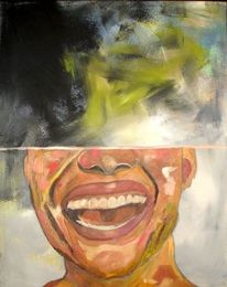 Portrait, Kopf, Lächeln, Mischtechnik