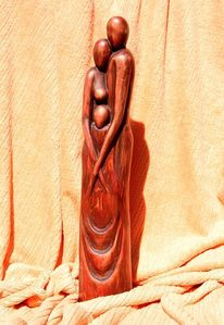 Holz skulpture, Kunsthandwerk, Holz, Geborgenheit