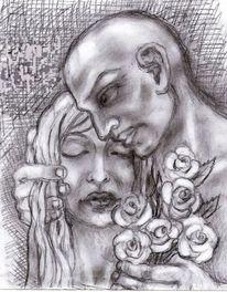 Frau, Mann, Blumen, Zeichnungen