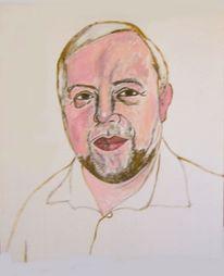 Portrait, Mann, Malerei, Schritt