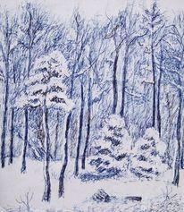 Winter, Landschaft, Zeichnungen