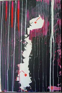 Acrylmalerei, Abstrakt, Rot schwarz, Dunkel
