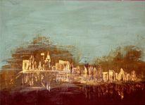 Pigmente, Leinen, Worpsvegas, Acrylmalerei
