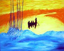 Acrylmalerei, Fluss, Leinen, Malerei