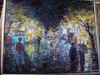 Nacht regen, Malerei