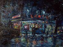 Malerei, Innenstadt, Nacht, Regen