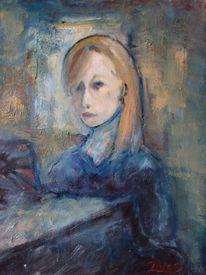 Malerei, Menschen, Mädchen, Klavier