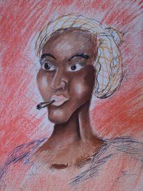 Pastellmalerei, Afrika, Frau, Zigarre