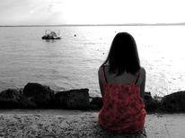 Mädchen, Rot schwarz, Wasser, Meer