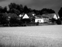 Landschaft, Schwarz weiß, Fotografie, Kornfeld