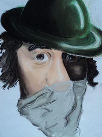 Mann, Hut, Tuch, Pastellmalerei
