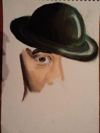 Portrait, Hut, Unplastisch, Pastellmalerei