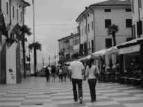Strand, Paar, Schwarz weiß, Fotografie