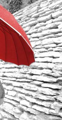 Rot schwarz, Weiß, Bunt, Regenschirm