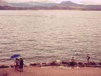Strand, Regenschirm, Urlaub, Retro