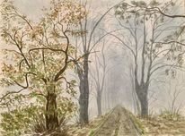 Landschaft, Wald, Aquarellmalerei, Aquarell