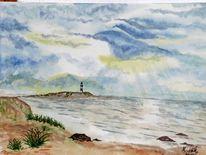Landschaft, Aquarellmalerei, Meer, Aquarell