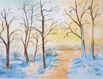 Schnee, Sonnenuntergang, Aquarell, Winterlandschaft