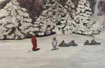 Kinder, Wald, Pyrenees, Wintertraum