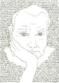 Lineare, Selbstportrait, Bleistiftzeichnung, Täglich