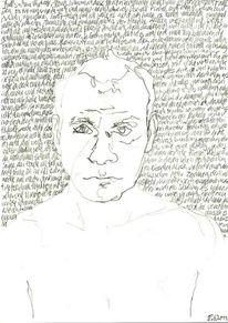Schrift als struktur, Handschrift, Zeichnung, Selbstportrait