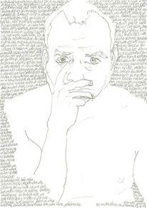 Portrait, Bleistiftzeichnung, Gesicht, Schwarz weiß