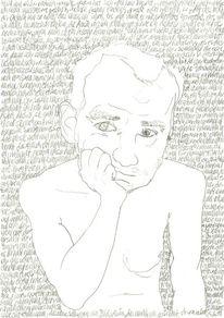 Schrift als struktur, Zeichnung, Selbstportrait, Gesicht