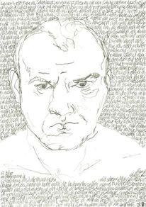 Lineare, Kopf, Selbstportrait, Schrift als struktur
