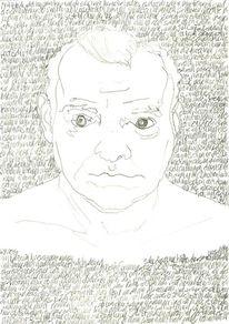 Täglich, Kopf, Selbstportrait, Schrift als struktur