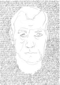 Selbstportrait, Handschrift, Gesicht, Schwarz weiß