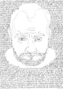Gesicht, Schwarz weiß, Bleistiftzeichnung, Reihe