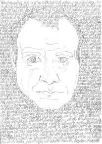 Lineare, Handschrift, Bleistiftzeichnung, Kopf