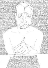 Selbstportrait, Täglich, Lineare, Bleistiftzeichnung